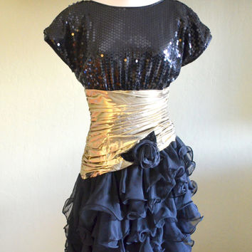 Vintage Pat Richards Evening Dress, Black Sequins, Gold Lame, Sequins and Ruffles, Asymmetrical Hem, Size 10, 1980s
