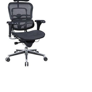 Ergohuman High Back Swivel Chair with Headrest Black Mesh & Chrome Base
