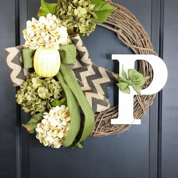 fall wreath - harvets wreath - hydrangea wreath - grapevine wreath -housewarming gift -thanksgiving