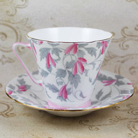 Royal Grafton Ashley Pink and Gray Floral English Bone China Teacup and Saucer