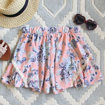 Peachy Blue Floral Lace Shorts