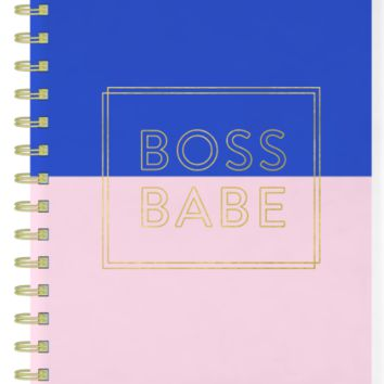 Boss Babe Spiral Bound Notebook in Blush Pink and Royal Blue