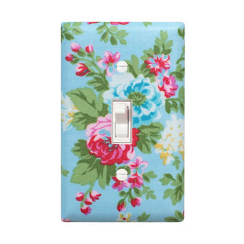 Shabby Chic Light Switch Plate Cover / Girl Room / Bathroom / Nursery Decor / Blue Floral