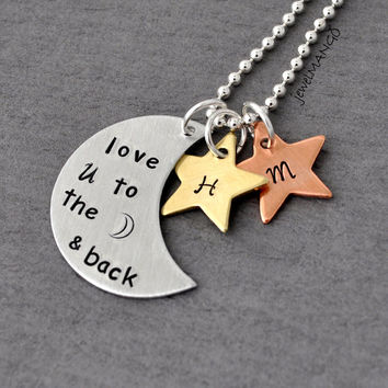 I love you to the moon and back with two stars, monogram, initial, custom necklace personalized necklace, gift,mixed materials, perfect gift