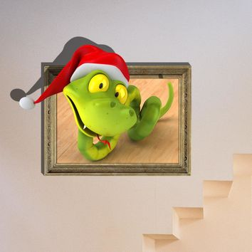 3D Baby Kids Room Cartoon Snake Wall Decals Removable Paper Christmas Santa Stickers Art DIY Decoration