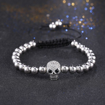 Luxury  Gold Plated Buddha Beaded Bracelets Micro Pave Cubic Zirconia Skull Skeleton Braiding Macrame Bangles for Men