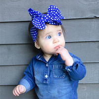 Fashion Baby New Cotton Hair Bow Headband Toddler bows for girls Handmade Stretch Head wraps with Boutique Cute Accessories
