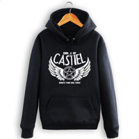 Supernatural Hoodie Church Of Castiel Cotton Cult Warm Jacket Coat Castiel Logo Cosplay