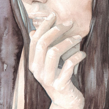 Original watercolor art woman braid contemporary portrait painting feelings moods and emotions.