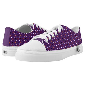 Purple, Black,White & Orange Polka-dots Halloween Printed Shoes