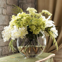 John-Richard Collection - Green & White Faux Flowers - Horchow