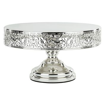 12 Inch Round Shiny Metallic Wedding Cake Stand (Silver Plated)