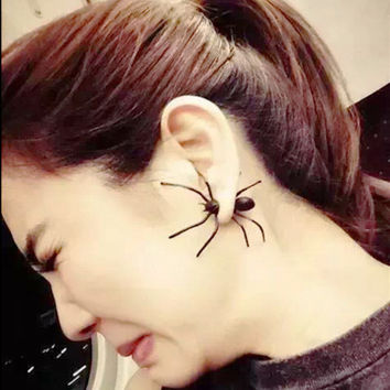 1Pair 3D Creepy Black Spider Ear Stud Earrings Hot Selling Unique Punk Earrings for Women 1A3013