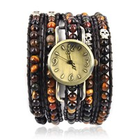 90's Girl Fashion Handmade Tiger Eyes Wrap Wrist Watch Brown