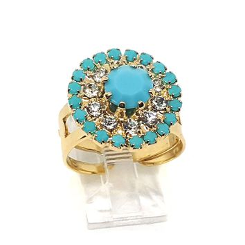 (1-3033-h5) Gold Overlay Turquoise Blue Ring, adjustable.