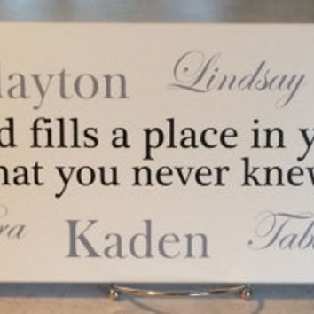 """Grandma Grandpa Gift, Grandparents Day, Grandmother, For Nana, """"A grandchild fills a place in your heart that you never knew was empty"""" Sign"""
