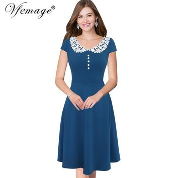 Vfemage Women Elegant Vintage Swing Cap Sleeve Casual Party Wear to Work Business Fit and Flare A-line Skater Dress 7027