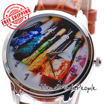 Brushes Watch, Unisex Wrist Watch, Wristwatch, Silver Watch Case, Leather Watch, Gift Idea for Painter, Gift for Woman- Free Shipping