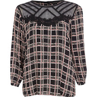 River Island Womens Black check mesh insert top