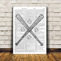 Baseball print Antique art Sport poster Modern decor RTA109