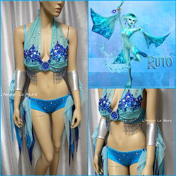 Ruto Legend of Zelda Cosplay Dance Costume Rave Bra Halloween Burlesque Show Girl