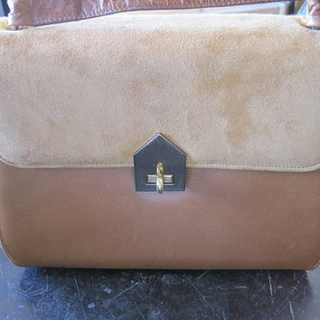 Vintage 1960's Ladies Tan Suede and Brown Leather Purse with Strap