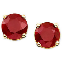 10k Gold Earrings, Ruby Stud Earrings (1 ct. t.w.) - Earrings - Jewelry & Watches - Macy's