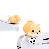 Cute Football Yellow Corgi Shiba Inu Dog Dust Plug 3.5mm Phone Accessory Charm Headphone Jack Earphone Cap iPhone 4 4S 5 5S iPad HTC Samsung
