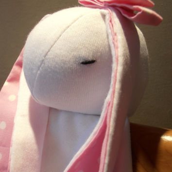 Personalized Pink Bunny Security Blanket / Lovey Blanket / Baby toy / Pink Ears, Belly Button&Ribbon / End knots / Stuffed animal