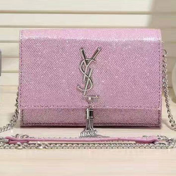 YSL Women Shopping  Metal Chain Crossbody Satchel Shoulder Bag Pink G-LLBPFSH