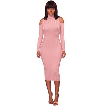 Women Cold Shoulder Midi Dress Turtleneck Long Sleeve Solid Bodycon Sexy Dress Casual Party Off The Shoulder Pencil Dress 2019