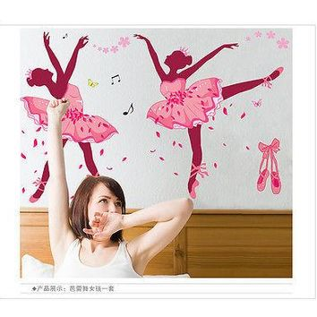 Hot Sales Removable DIY Pink Ballerina Wall Stickers Ballet Dacing Girl Vinyl Home Decal