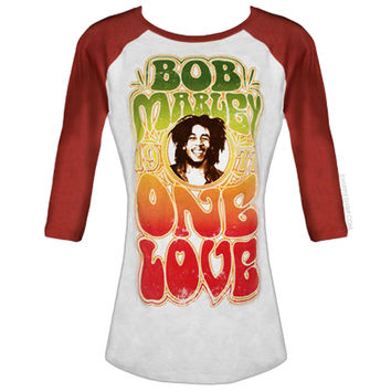Bob Marley - One Love Baseball Women's T Shirt on Sale for $29.95 at HippieShop.com