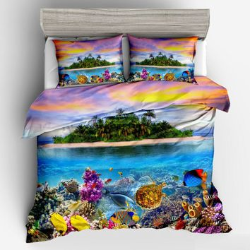Ocean sea fish 3D Bedding Set Duvet cover set Twin queen king Beautiful cartoon fashion pattern Real effect lifelike bedclothes
