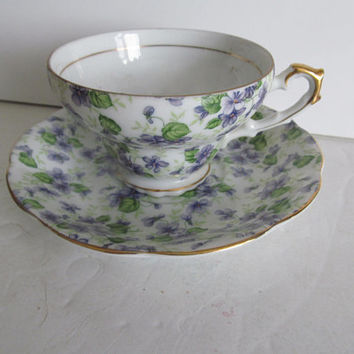 Lavender Purple Tea Cups Fine Bone China Tea Cup Lefton China Tea Cup and Saucer Hand Painted Tea Cup Set Tea Cups