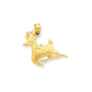 14k Yellow Gold Reindeer Charm