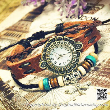 Retro Girl Wrist Watch Bangle Bracelet Women Girls Leather  Leather  Jewelry  (GA0013)