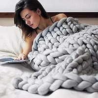 "EASTSURE Bulky Knit Throw Chunky Sofa Blanket Hand-made Pet Bed Chair Mat Rug,Grey,24""x24"""