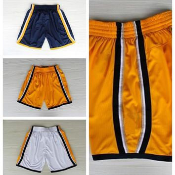 Indiana Men 31 Reggie Miller Basketball Pant Team Yellow White Navy Blue 13 Paul George Shorts Sportswear Breathable All Stitched Quality