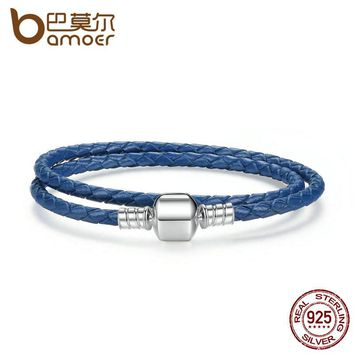 925 Sterling Silver Blue Snake Chain Adjustable Braided Rope Bracelets for Women Jewelry PAS910