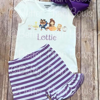 """Personalized """"Tale As Old As Time"""" Character 2pc Set with Option To Purchase Separates-Semi RTS"""