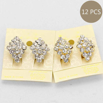Cluster Clip on Earrings  (12 Pairs)