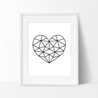 White Geometric Poly Heart