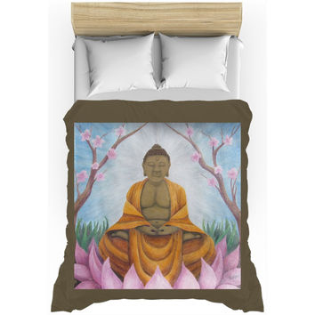 Buddha - Duvet Cover of Acrylic Paint and Watercolor Pencil Fine Art
