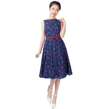 Women Vintage Cherry Printed Dresses Lady Girls Sleeveless Vetidos Long Party Cute Dress