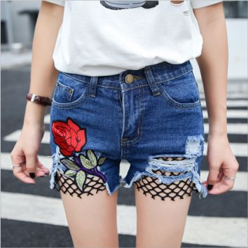 Fashion sexy embroidery red rose cowboy shorts dark blue
