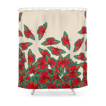 Society6 Ruby & Emerald Butterfly Dance - Red, Teal & Green Butterflies On Cream Shower Curtains