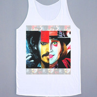 Johnny Depp Tank Top Johnny Depp Shirt Funny Shirt Color Shirt Women Tunic Shirt Singlet Sleeveless White Shirt Vest Women Shirt Size L