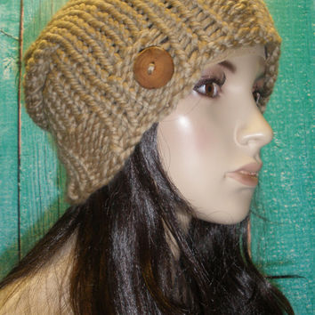 Slouchy Beanie Hat Winter Hand Knit Tan Beige Woodsy With A Wood Button