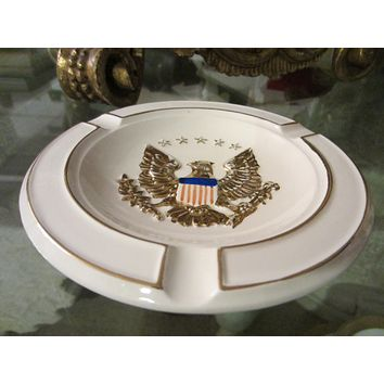 Eagle Crest Majolica Ashtray Porcelain Decorated Gold Patriot Stars Stripes